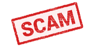 Text Sign saying Scam