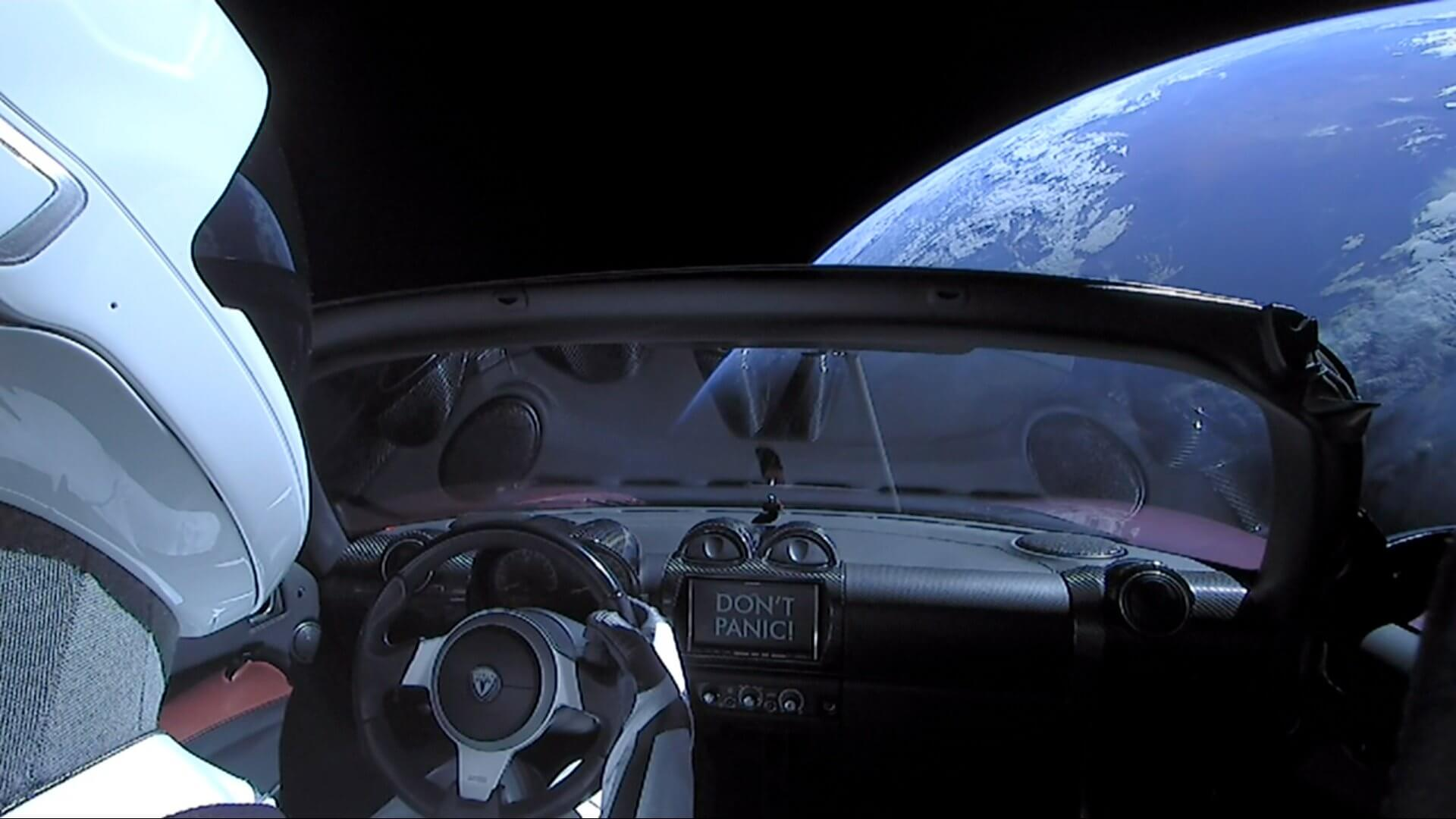 Dont Panic, Space X Starman Tesla Roadster